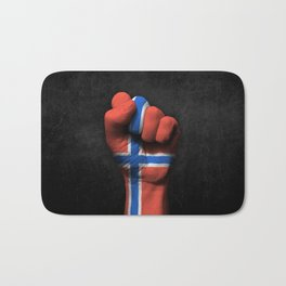 Norwegian Flag on a Raised Clenched Fist Bath Mat