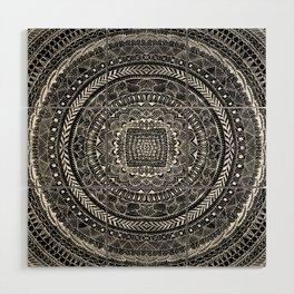 Zentangle Mandala Black and White Wood Wall Art