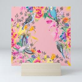 Stardust Pink Floral Birds Motif Mini Art Print