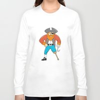 captain hook Long Sleeve T-shirts featuring Captain Hook Pirate Wooden Leg Cartoon by patrimonio