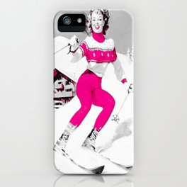 Snow Bunny Pin Up Girl Pink iPhone Case