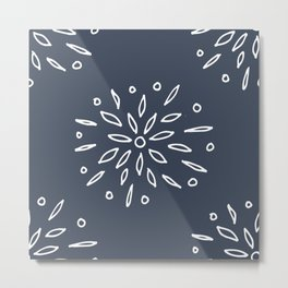 Starry Floral Pattern on Blue Metal Print