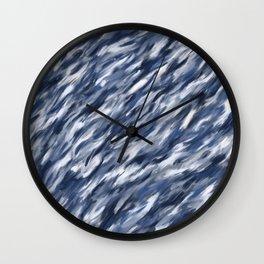 Blue + Gray brushstrokes Wall Clock