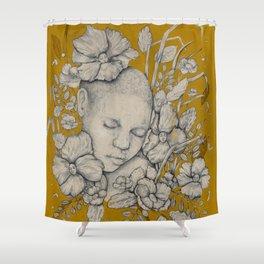 """""""Guardians"""" - Surreal Floral Portrait Illustration Shower Curtain"""