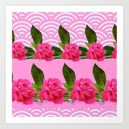 CERISE PINK GARDEN ROSES PATTERN ABSTRACT ART Art Print