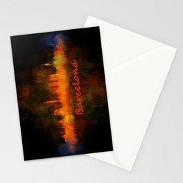 Barcelona City Skyline Hq _v4 Stationery Cards