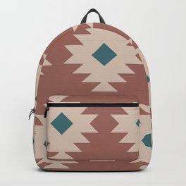 Southwestern Pattern 536 Teal Green and Brown Backpack