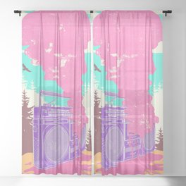 MELTED BOOMBOX Sheer Curtain
