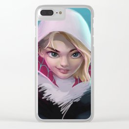Spider Gwen head portrait light Clear iPhone Case