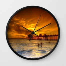 A Winter's Dip * Huntington Beach, California Wall Clock