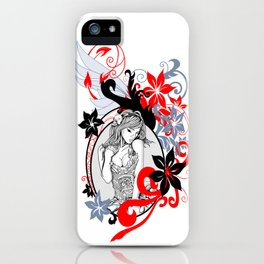 girl in flowers iPhone Case
