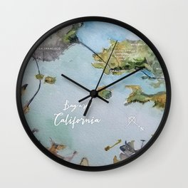SF, San Francisco, Oakland, Bay Area, California Watercolor Map Art Wall Clock
