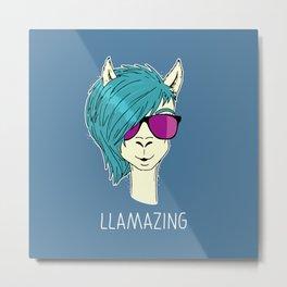 LLAMAZING llama Metal Print