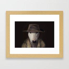 Bullterrier in the hat Framed Art Print