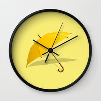 himym Wall Clocks featuring HIMYM - The Yellow Umbrella by George Hatzis