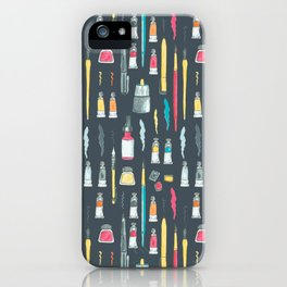 Addicted to Art supplies pattern iPhone Case