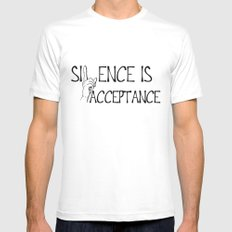 Silence is Acceptance Mens Fitted Tee White MEDIUM