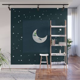 Little Green Man on Moon and Stars Wall Mural