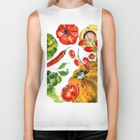vegetable Biker Tanks featuring Vegetable mix by Liliya Kovalenko