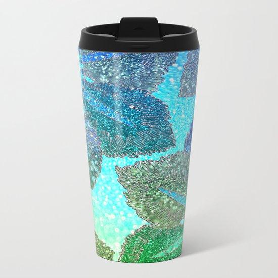 Aqua Green and Blue Glitter Flowers on #Society6 Metal Travel Mug