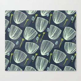 Tulip Garden M+M Navy Black by Friztin Canvas Print