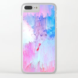 Abstract Candy Glitch - Pink, Blue and Ultra violet #abstractart #glitch Clear iPhone Case