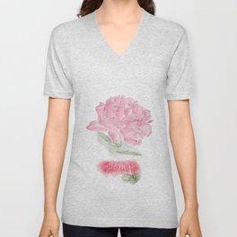 Botanical Brushstrokes ● Peony Pastel Unisex V-Neck