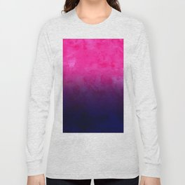 Boho pink navy blue watercolor ombre gradient fade Long Sleeve T-shirt
