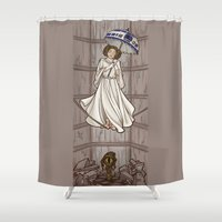 hallion Shower Curtains featuring Leia's Corruptible Mortal State by Karen Hallion Illustrations