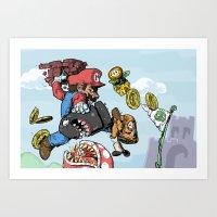 super mario Art Prints featuring Super Mario by Sharkeye Jones