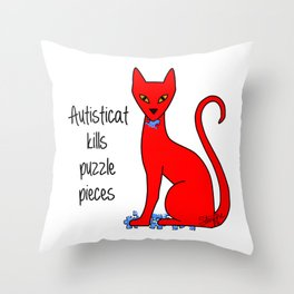 Autisticat Kills Puzzle Pieces Throw Pillow
