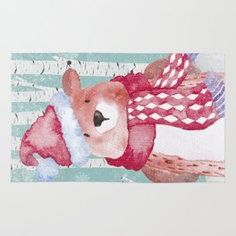 Winter Woodland Friends Cute Bear Snowy Forest Illustration Rug