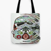 psychadelic Tote Bags featuring Psychadelic Storm Trooper by Just Bailey Designs .com