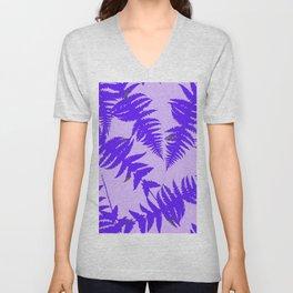 Decorative Grape Purple Ferns Glen on Lilac Color Unisex V-Neck