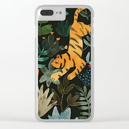 Floral Jungle Tiger Pattern Clear iPhone Case