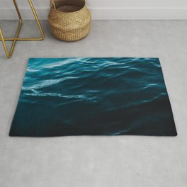 Minimalist blue water surface texture - oceanscape Rug