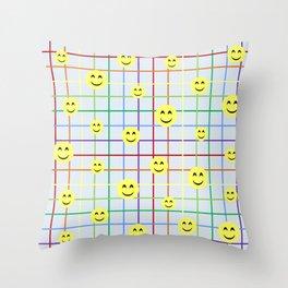 Colorful Smileys Throw Pillow