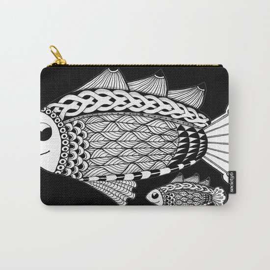 Fishies Zentangle Black and White Pen & Ink Carry-All Pouch