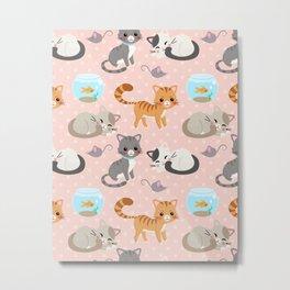 Cute Cat and Fish Pattern – Light Pink Polka Dots Metal Print