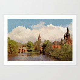 The Lake of Love Bruges art Art Print