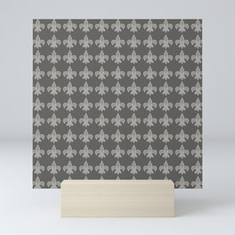 Fleur de lis gray on gray Mini Art Print
