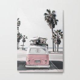 Pink Surfer Van, Beach Wall Art Metal Print