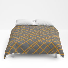 Hand Drawn Cross-Hatch (Gray/Orange) Comforters