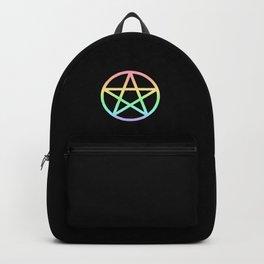 Rainbow Pentacle on Black Backpack
