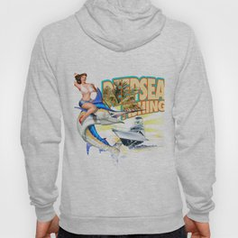 Vintage Style Fishing Pinup Girl Riding a Blue Marlin Hoody