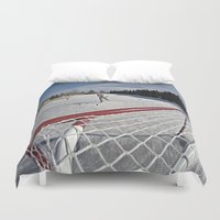 hockey Duvet Covers featuring Pond Hockey  by LukeyD