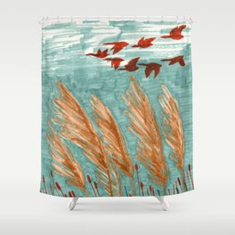 Geese Flying over Pampas Grass Shower Curtain