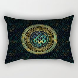 Marble and Abalone Endless Knot  in Mandala Decorative Shape Rectangular Pillow