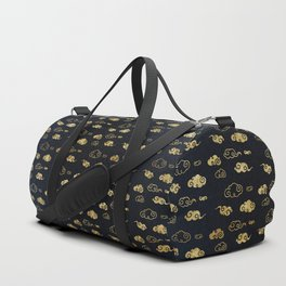 Black and Gold Asian Style Cloud Pattern Duffle Bag