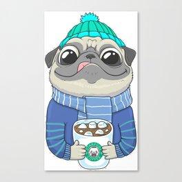 Pug with coffee Canvas Print